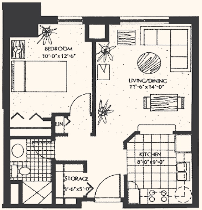 Unit A1: One-bedroom, 560 square feet