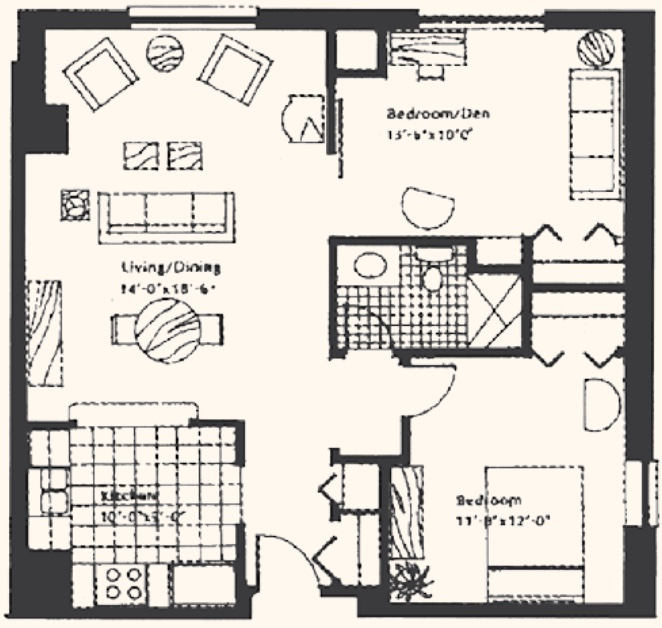 Unit D: Two-bedroom, 840 square feet