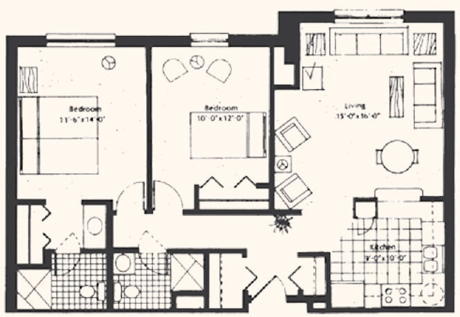 Unit E1: Two-bedroom, 960 square feet