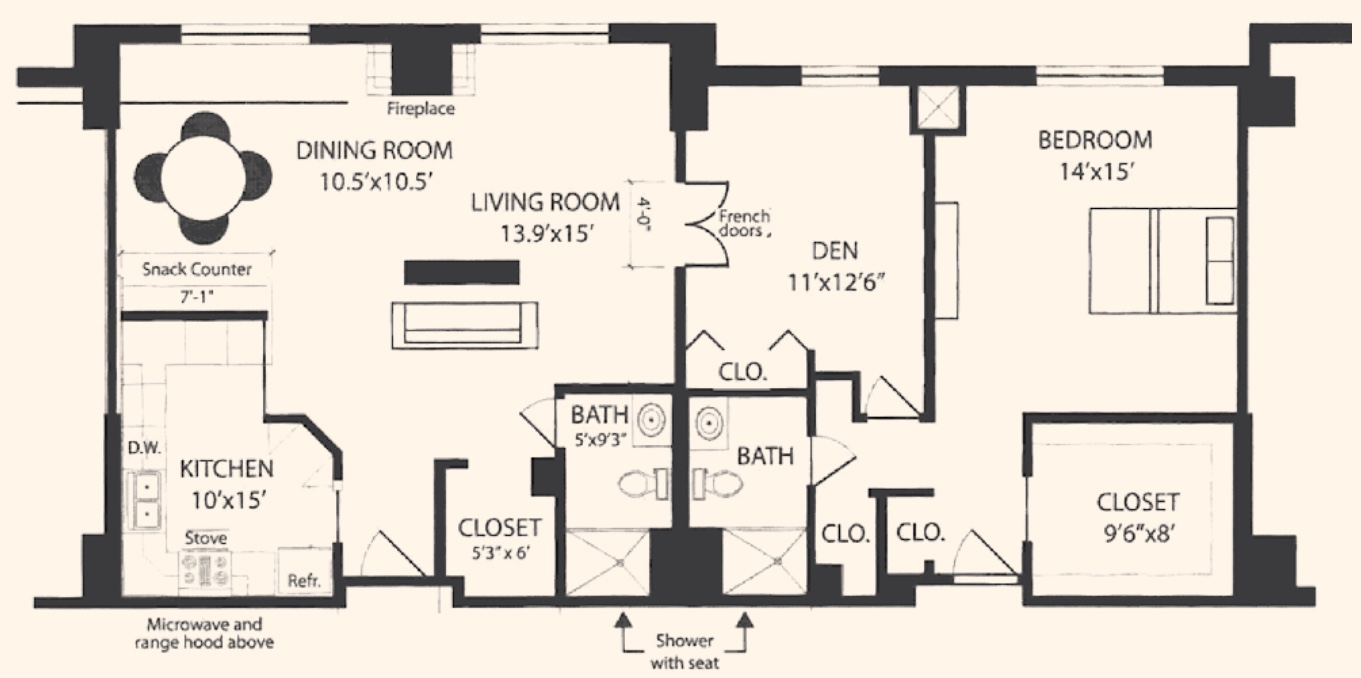 Unit F and F1: Two-bedroom, 1,300 square feet